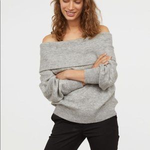 H&M Grey Chunky Oversized Off The Shoulder Sweater